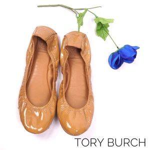 TORY BURCH Leather Ballerina Flats, Size 10